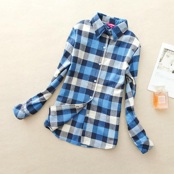 Women's Blue Plaid Shirt - LovelyMojo