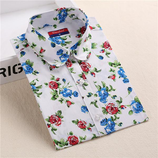 """Red & Blue Floral Print"" Women's Shirt"