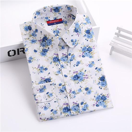 """White Blue Flower"" Women's Shirt - LovelyMojo"