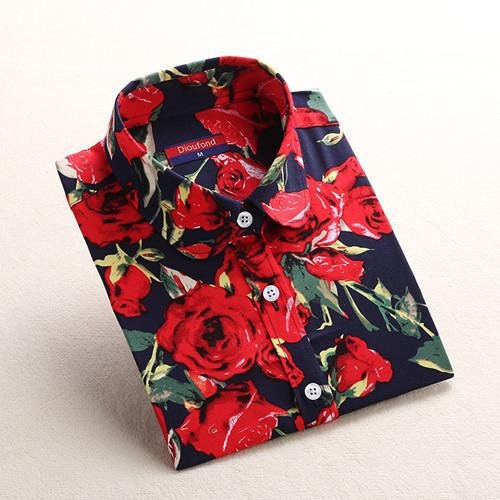"""Dark Red"" Floral Women's Shirt - LovelyMojo"