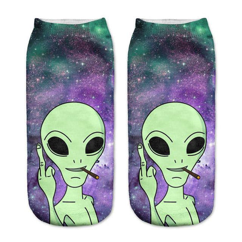 Alien Middle Finger Socks - LovelyMojo