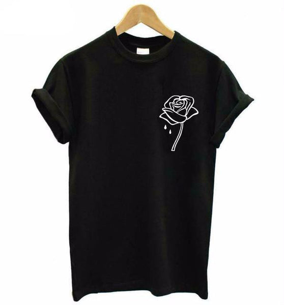 """Rose"" Pocket Print T-Shirt - LovelyMojo"