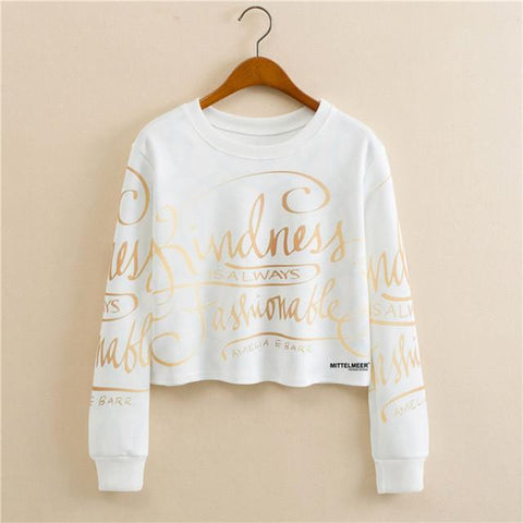 """Kindness Is Always Fashionable"" Cropped Sweatshirt - LovelyMojo"