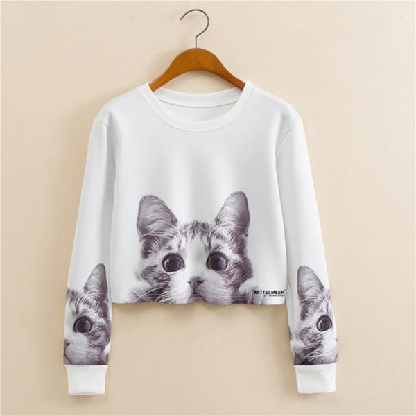 """Curious Cat"" Cropped Sweatshirt - LovelyMojo"