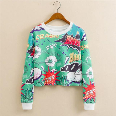 """Comic Style"" Cropped Sweatshirt - LovelyMojo"