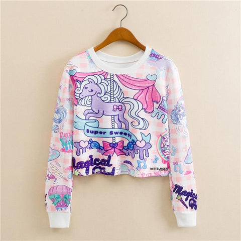 """Unicorns"" Cropped Sweatshirt - LovelyMojo"