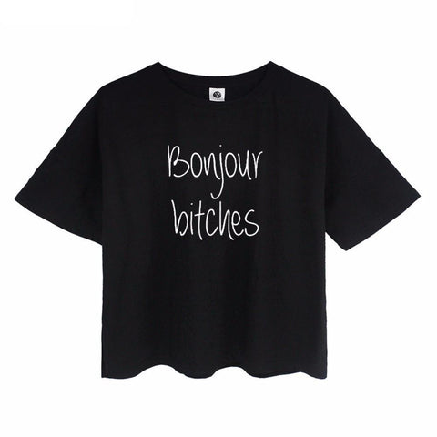 """BONJOUR BITCHES"" Crop Tee - LovelyMojo"