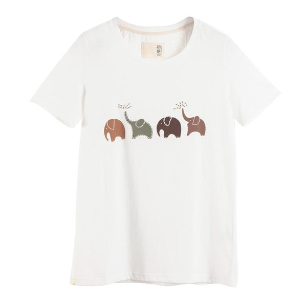 """Elephant"" Printed Loose Casual T-Shirt - LovelyMojo"