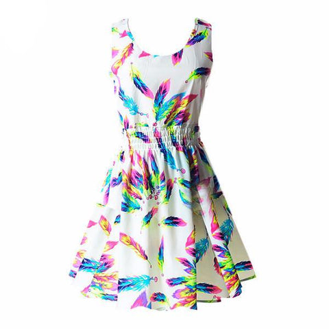 """Rainbow Feathers"" Summer Dress - LovelyMojo"