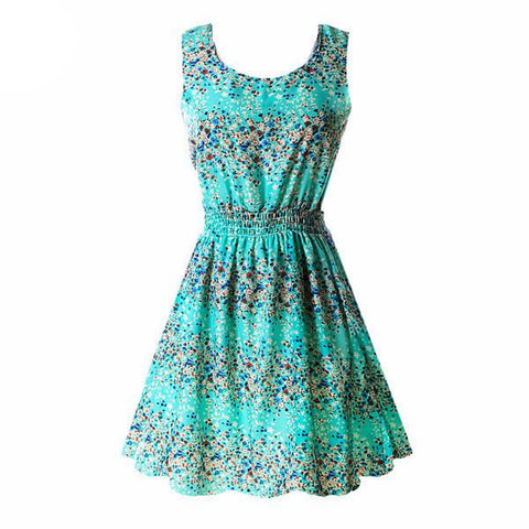 """Aqua Floral"" Summer Dress - LovelyMojo"