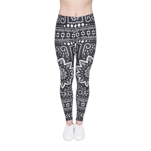 """Black & White Mandala"" Leggings - LovelyMojo"