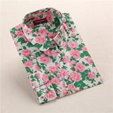 """Pink & Green"" Floral Women's Shirt - LovelyMojo"