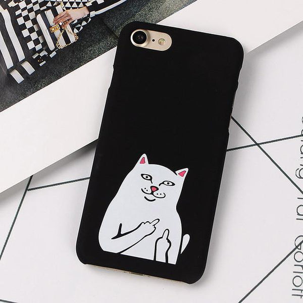 """Supreme Middle Finger Cat"" iPhone Case - LovelyMojo"