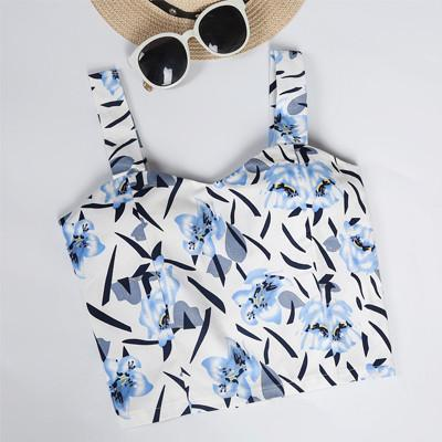 """Blue Floral"" Crop Top - LovelyMojo"