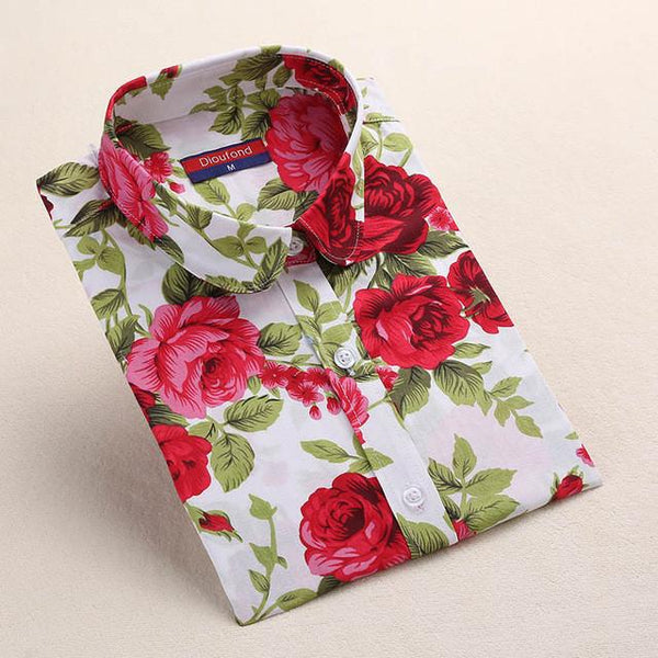 """Red Bloom"" Women's Shirt - LovelyMojo"