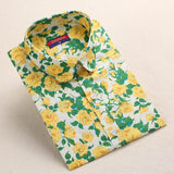 """Yellow Floral Print"" Women's Shirt - LovelyMojo"