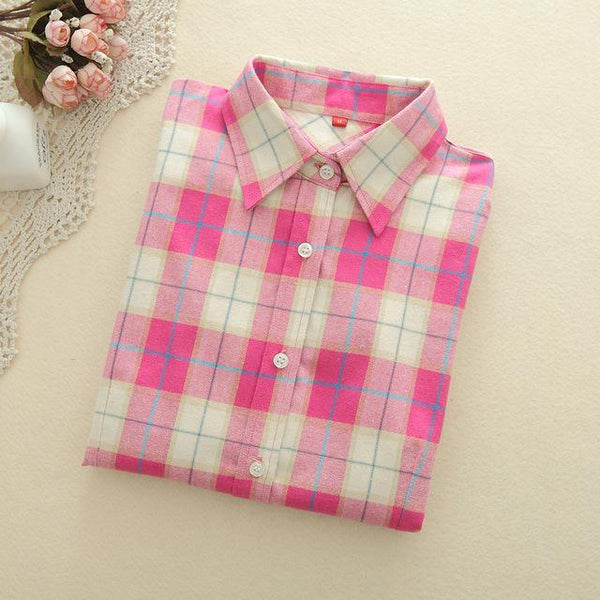Light Pink Plaid Shirt - LovelyMojo
