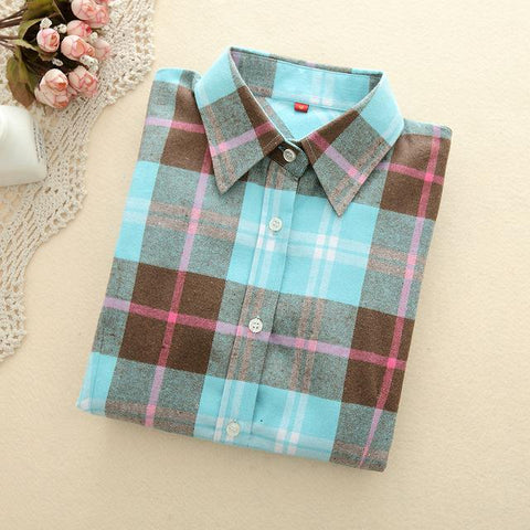 Sky Blue Plaid Shirt - LovelyMojo