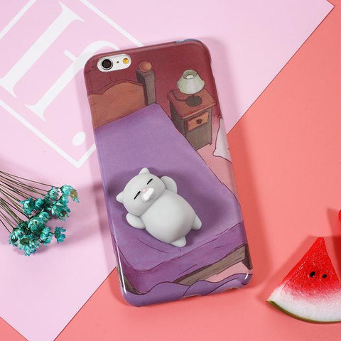 """Sleeping Cat"" Squishy Phone Case - LovelyMojo"