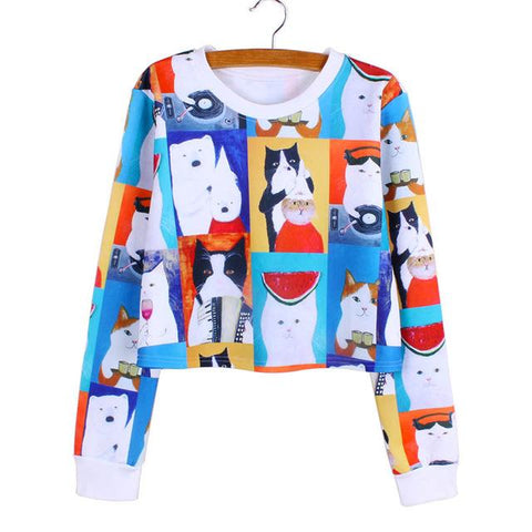"""Cat Portrait"" Cropped Sweatshirt - LovelyMojo"