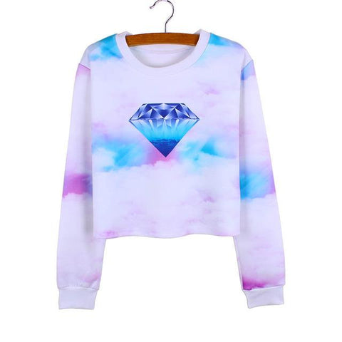 """Diamond In The Sky"" Cropped Sweatshirt - LovelyMojo"