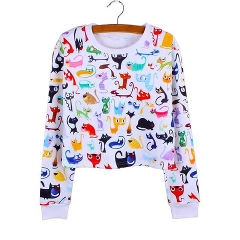 """Cats Cats Cats"" Cropped Sweatshirt - LovelyMojo"