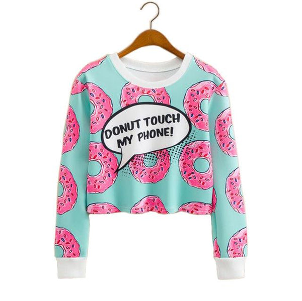 """Donut Touch My Phone"" Cropped Sweatshirt - LovelyMojo"