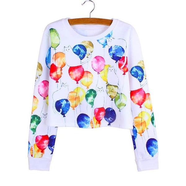 """Cat Party"" Cropped Sweatshirt - LovelyMojo"
