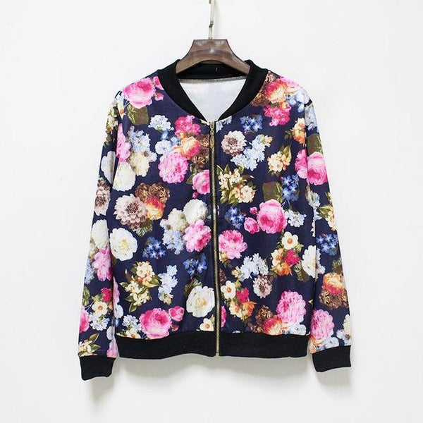 """Colorful Mind"" Floral Baseball Jacket - LovelyMojo"