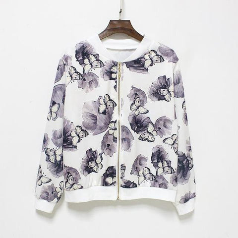 """Plain As White"" Floral Baseball Jacket - LovelyMojo"