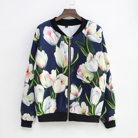 """Growth As One"" Floral Baseball Jacket - LovelyMojo"