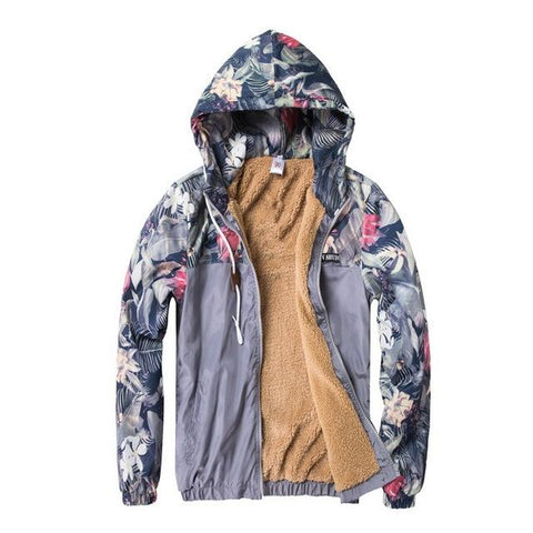 Grey Fleece Floral Jacket - LovelyMojo