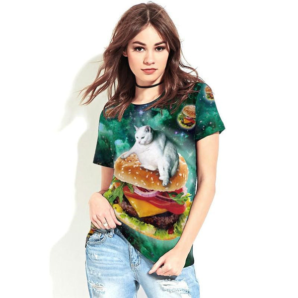 """The Cat And The Hamburger"" T-Shirt - LovelyMojo"