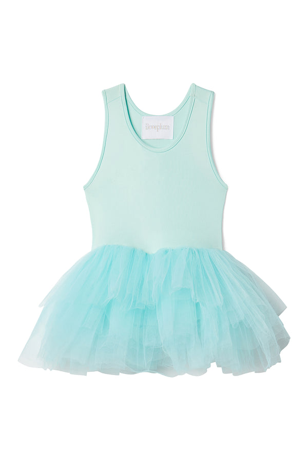 Iloveplum girls 'Birdie' blue tutu features a classic leotard body, a spandex racerback bodice adorned with snap closures and tons of tulle to twirl in.