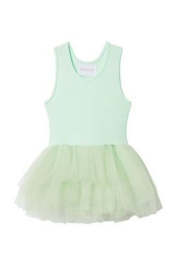 Iloveplum girls 'Bobbi' green tutu features a classic leotard body, a spandex racerback bodice adorned with snap closures and tons of tulle to twirl in.
