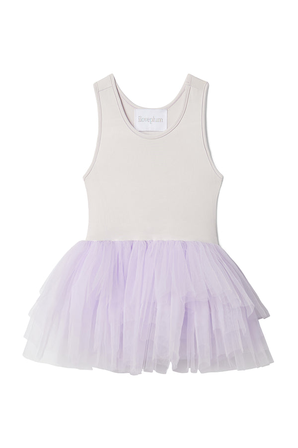Iloveplum girls 'Billie' purple tutu features a classic leotard body, a spandex racerback bodice adorned with snap closures and tons of tulle to twirl in.