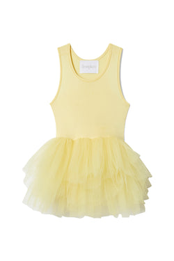 Iloveplum girls 'Blondie' yellow tutu features a classic leotard body, a spandex racerback bodice adorned with snap closures and tons of tulle to twirl in.