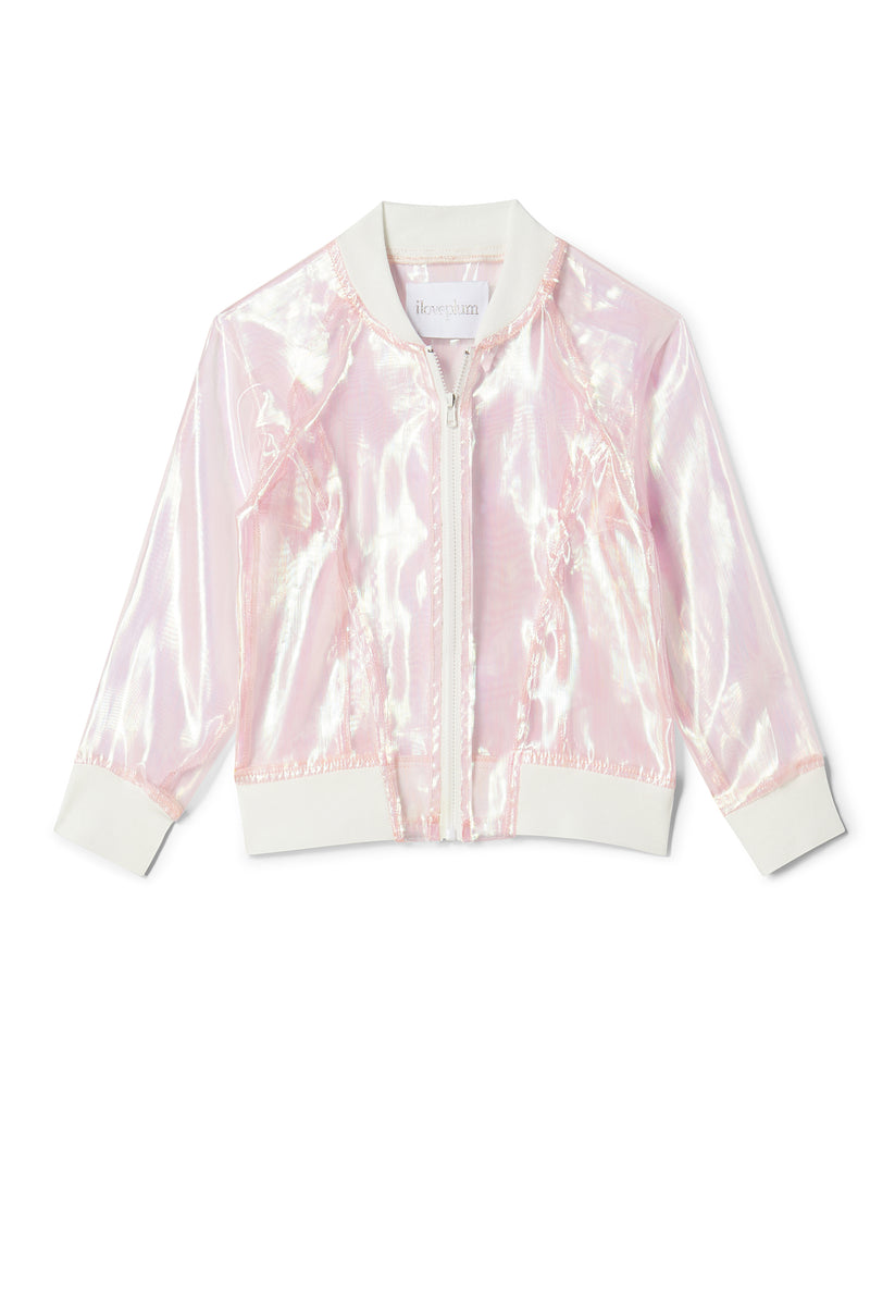 Iloveplum girls cute and classic iridescent beach bomber jacket is cropped at just the right length to throw on over a classic tutu.