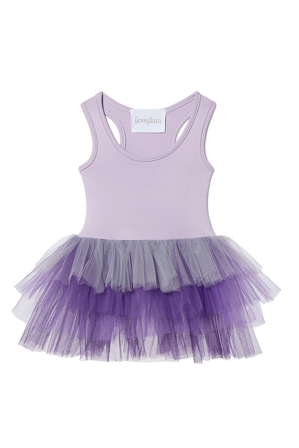 Iloveplum girls tutu constructed from a classic leotard body, a spandex racerback bodice adorned with snap closures and tons of tulle to twirl in.