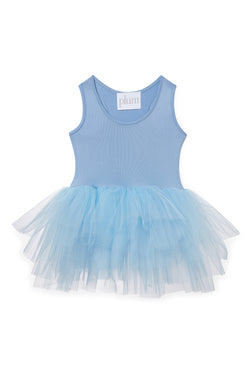 Iloveplum girls 'Ophelia' blue tutu features a classic leotard body, a spandex racerback bodice adorned with snap closures and tons of tulle to twirl in.