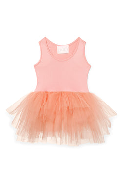 Iloveplum girls 'Poppy' orange tutu features a classic leotard body, a spandex racerback bodice adorned with snap closures and tons of tulle to twirl in.