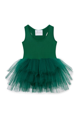 Iloveplum baby 'Olive' green tutu features a classic leotard body, a spandex racerback bodice adorned with snap closures and tons of tulle to twirl in.