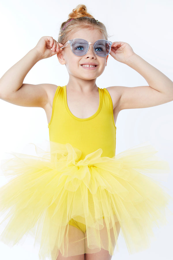 Iloveplum girls 'Odette' yellow tutu features a classic leotard body, a spandex racerback bodice adorned with snap closures and tons of tulle to twirl in.