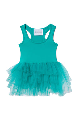 Iloveplum girls 'Alba' neon teal tutu features a classic leotard body, a spandex racerback bodice adorned with snap closures and tons of tulle to twirl in.