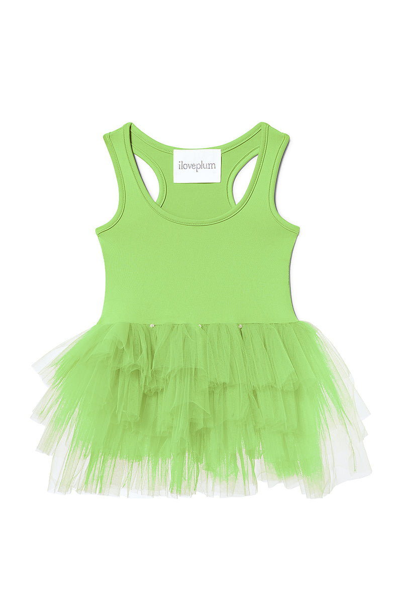 Iloveplum girls 'Amala' neon green tutu features a classic leotard body, a spandex racerback bodice adorned with snap closures and tons of tulle to twirl in.