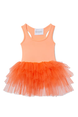 Iloveplum girls 'Amira' neon orange tutu features a classic leotard body, a spandex racerback bodice adorned with snap closures and tons of tulle to twirl in.