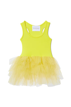 Iloveplum girls 'Anaise' neon yellow tutu features a classic leotard body, a spandex racerback bodice adorned with snap closures and tons of tulle to twirl in.