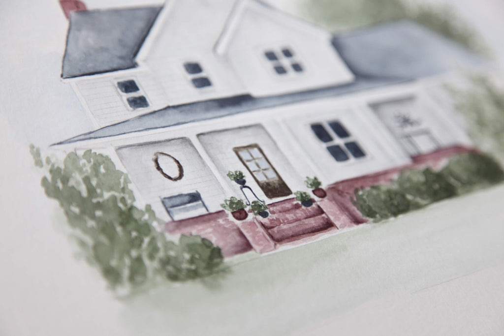 Custom Watercolor Home + Building