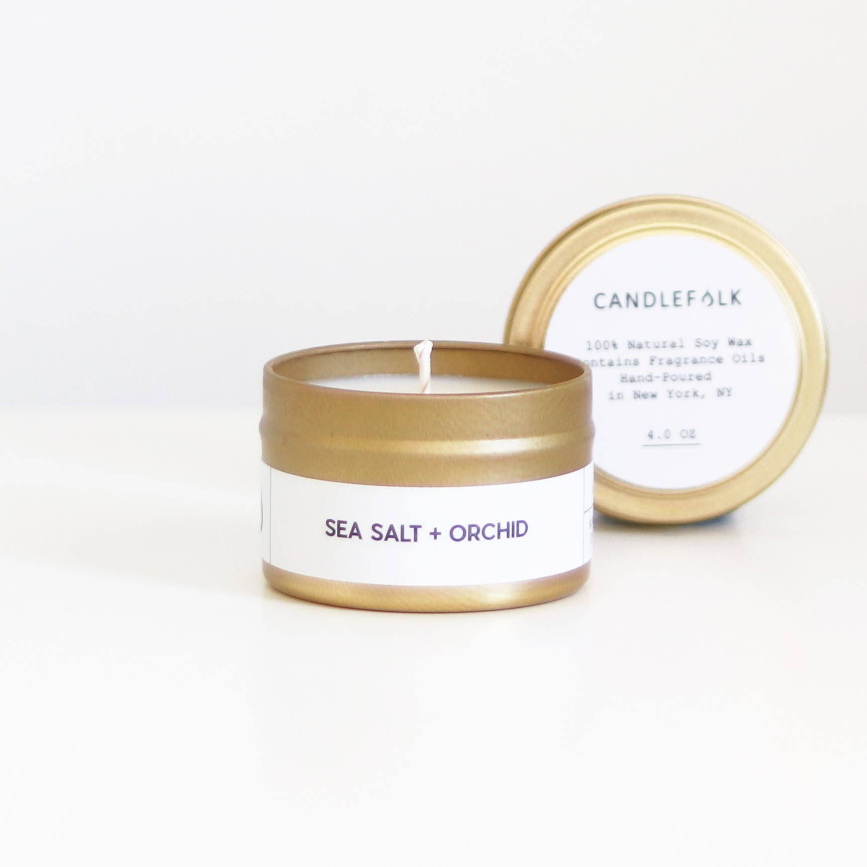 Candlefolk - Sea Salt + Orchid - Gold Travel Candle 4 oz