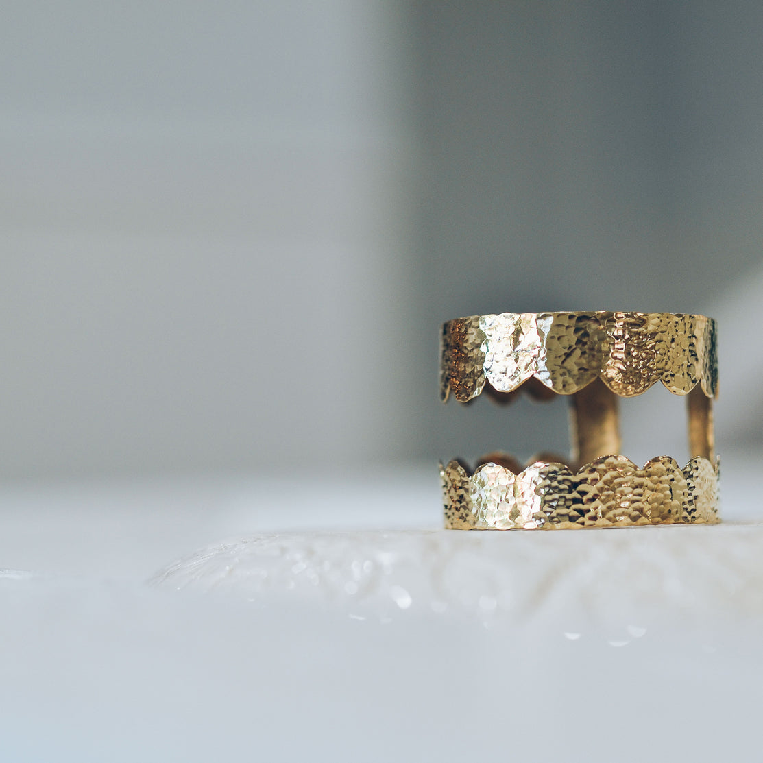 Brass Scallop Hammered Cuff